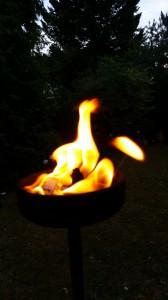 Feuer in der Fackel (im Garten von Elmar Grubers Familien-Haus)
